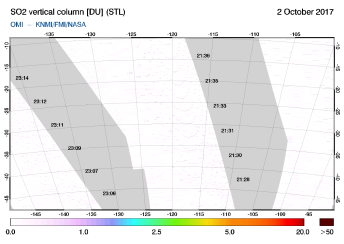 OMI - SO2 vertical column of 02 October 2017