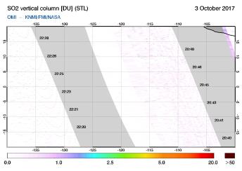 OMI - SO2 vertical column of 03 October 2017