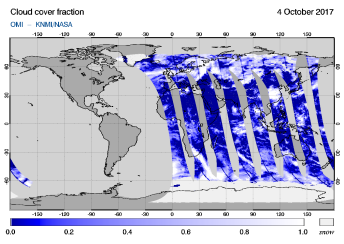 OMI - Cloud cover fraction of 04 October 2017