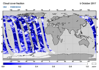 OMI - Cloud cover fraction of 05 October 2017