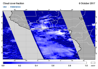 OMI - Cloud cover fraction of 06 October 2017