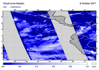 OMI - Cloud cover fraction of 08 October 2017