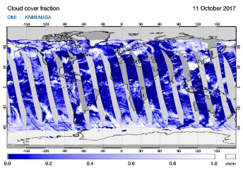 OMI - Cloud cover fraction of 11 October 2017