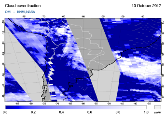 OMI - Cloud cover fraction of 13 October 2017