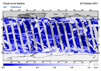 OMI - Cloud cover fraction of 20 October 2017