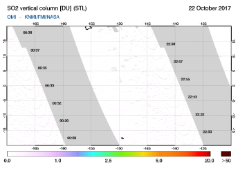 OMI - SO2 vertical column of 22 October 2017