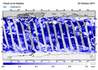 OMI - Cloud cover fraction of 23 October 2017