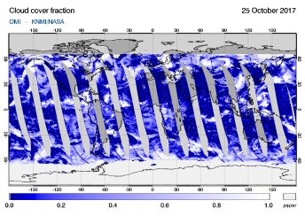 OMI - Cloud cover fraction of 25 October 2017