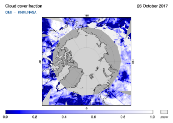 OMI - Cloud cover fraction of 26 October 2017
