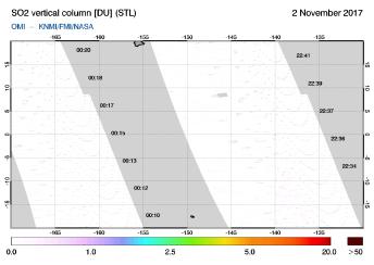 OMI - SO2 vertical column of 02 November 2017