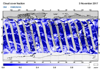 OMI - Cloud cover fraction of 03 November 2017