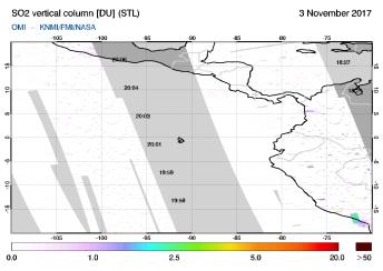 OMI - SO2 vertical column of 03 November 2017