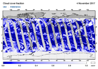 OMI - Cloud cover fraction of 04 November 2017