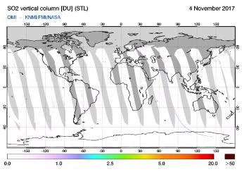 OMI - SO2 vertical column of 04 November 2017