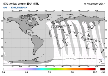 OMI - SO2 vertical column of 05 November 2017