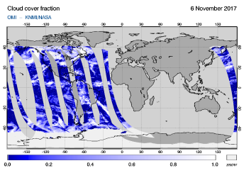 OMI - Cloud cover fraction of 06 November 2017