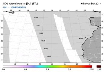 OMI - SO2 vertical column of 06 November 2017