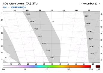 OMI - SO2 vertical column of 07 November 2017