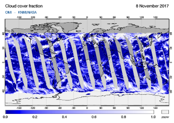 OMI - Cloud cover fraction of 08 November 2017