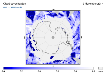OMI - Cloud cover fraction of 09 November 2017