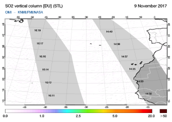 OMI - SO2 vertical column of 09 November 2017