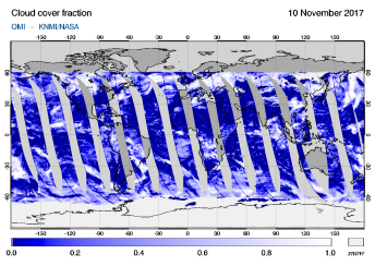 OMI - Cloud cover fraction of 10 November 2017