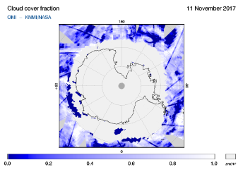 OMI - Cloud cover fraction of 11 November 2017