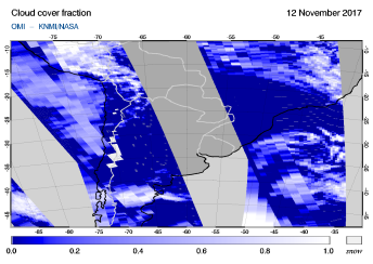 OMI - Cloud cover fraction of 12 November 2017