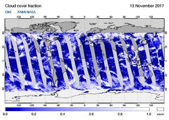 OMI - Cloud cover fraction of 13 November 2017