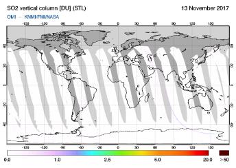 OMI - SO2 vertical column of 13 November 2017