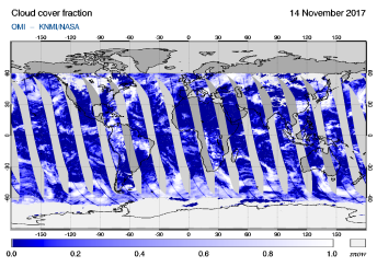 OMI -  Cloud cover fraction of 14 November 2017