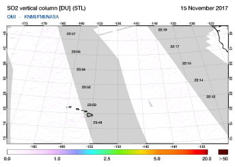 OMI - SO2 vertical column of 15 November 2017