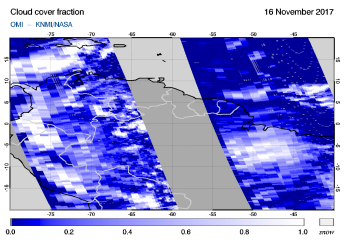 OMI - Cloud cover fraction of 16 November 2017