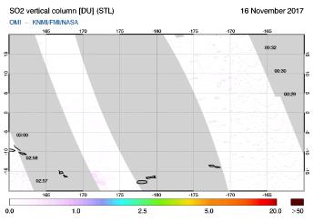 OMI - SO2 vertical column of 16 November 2017