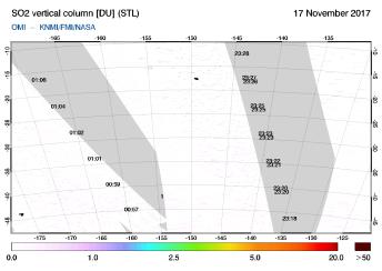 OMI - SO2 vertical column of 17 November 2017