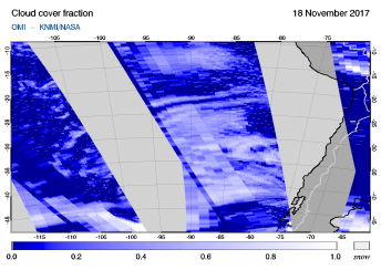 OMI - Cloud cover fraction of 18 November 2017