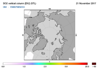 OMI - SO2 vertical column of 21 November 2017