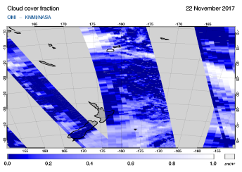 OMI - Cloud cover fraction of 22 November 2017