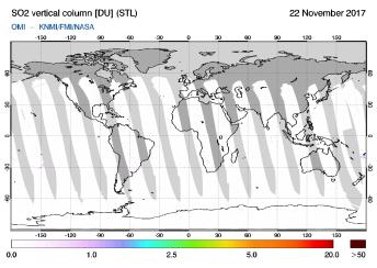 OMI - SO2 vertical column of 22 November 2017