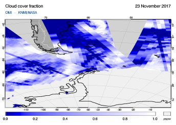 OMI - Cloud cover fraction of 23 November 2017