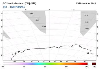 OMI - SO2 vertical column of 23 November 2017