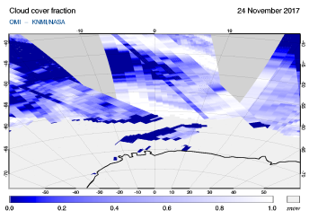 OMI - Cloud cover fraction of 24 November 2017