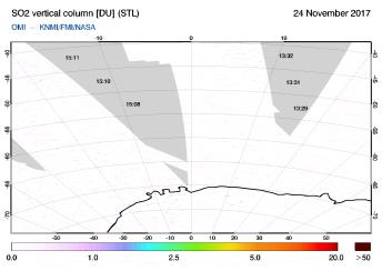OMI - SO2 vertical column of 24 November 2017
