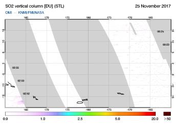 OMI - SO2 vertical column of 25 November 2017
