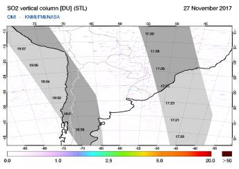 OMI - SO2 vertical column of 27 November 2017