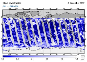 OMI - Cloud cover fraction of 03 December 2017