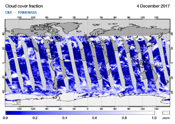OMI - Cloud cover fraction of 04 December 2017