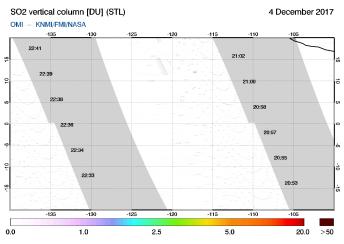 OMI - SO2 vertical column of 04 December 2017