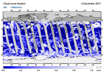 OMI - Cloud cover fraction of 05 December 2017