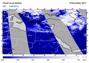 OMI - Cloud cover fraction of 06 December 2017